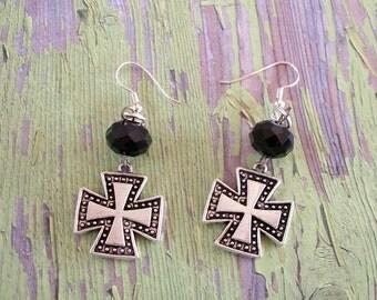 Silver Cross and Black Bead Earrings