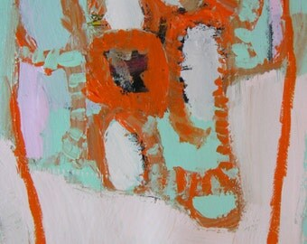 Orange and Mint Terrarium, Original mixed media painting on arches