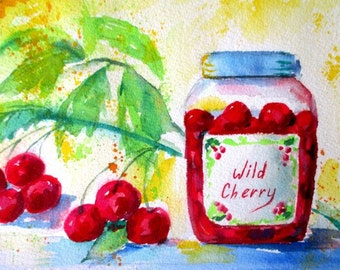Original Watercolor Painting * WILD CHERRY * Small Art Format By Rodriguez * Kitchen Decor * Fruit Art