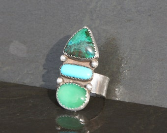 turquoise, chrysoprase, chrysocolla and sterling silver cocktail metalwork ring size 7