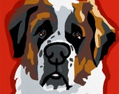 Saint Bernard Pop Art Dog Painting Print Colorful