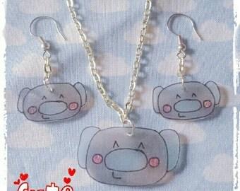 Kawaii Koala Necklace and Earrings Set - Baby Blue and Grey