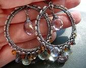 Hoops n gems - wire wrapped sterling silver and quartz gemstone hoop earrings