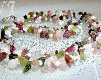 Interwoven Tourmaline & Rock Crstal Necklace