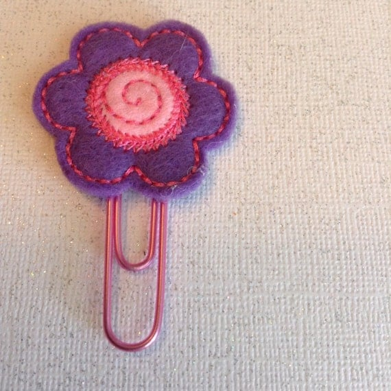 Planner Clip or Book Marker Felt Flower