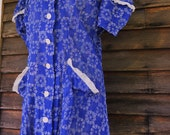 1930s 1940s Day Dress Sheer Blue Fabric Blue Floral Sweet Summer Vintage Handmade Size Large