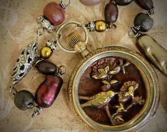 The Bird Watcher-Antique Vintage Victorian Picture Button and Pocket Watch Assemblage Necklace