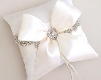 Bejeweled Ivory Ring Bearer Pillow - Satin Rhinestone Wedding Ring Bearer Pillow