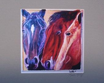 Print of my Original painting of Three Horses with signed matt  Linda Kelly