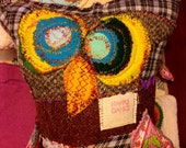 Stuffed owl   animal  Owl  Novelty stuffed owl toy pillow retro   vintage fabrics, wool, embroidered