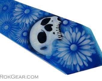 RokGear Neckties - Custom skull tie, mens extra long azure blue microfiber necktie