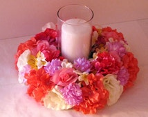 Wedding centerpiece tropical candle ring silk flower wedding centerpiece Flower Decoration wedding table centerpiece