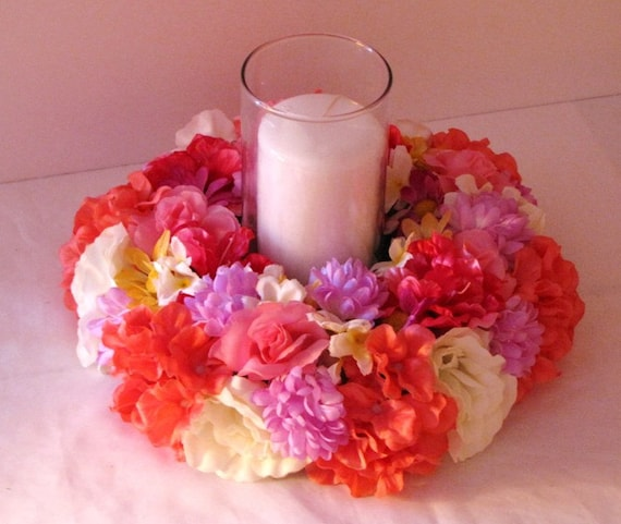 Wedding centerpiece tropical candle ring silk by decorations
