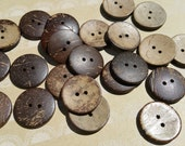 "Wood Buttons - Sewing Button - Coconut Wooden Two Holes Buttons - 1"" Wide"