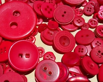 Red Buttons - Assorted Round Sewing Bulk Button - 120 Buttons - Hot Tamales - CHRISTMAS
