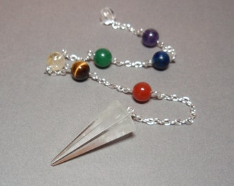 Clear Quartz and Chakra Gemstones Dowsing Divination Pendulum