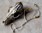 Real painted red fox skull totem necklace with glass beads, brass bells, and hand braided cord