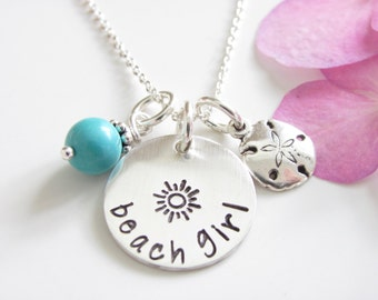 Beach Girl Necklace - Turquoise and Sterling Sand Dollar Charm - Ready to Ship