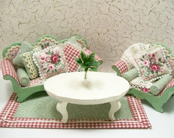 Living Room Suite Roses Cottage 3/4 or 1/16 Dollhouse Miniature Furniture