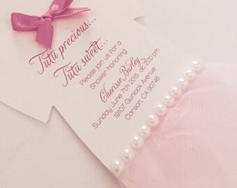 Baby onesie tutu invitation - Tutu baby shower invitation