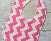 Pink Cream Chevron Drooler Bib - Snap - Non wicking fleece back - Middle layer Organic cotton