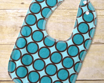 Turquoise Ring Dot Drooler Bib - Snap - Non wicking fleece back - Middle layer Organic cotton