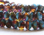 No. 4633 .. 10 Picasso Czech Rondelle Glass Beads 6x8mm (4633-10)