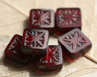 CRANBERRY SQUARES .. 6 Picasso Czech Square Red Glass Beads 10mm (4506-6)