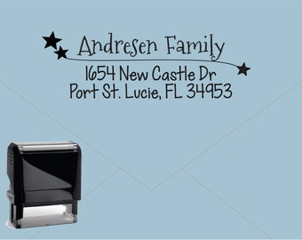 Self Inking Return Address Stamp * Custom Address Rubber Stamp (E230) Shooting Stars