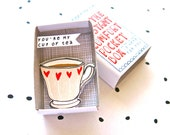 The Instant Comfort Pocket Box - you are my cup of tea - Valentines day gift - I love you card - comfort box