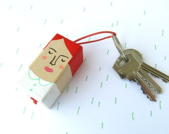 SALE wooden keychain - ginger - handpainted key chain of a cute red head
