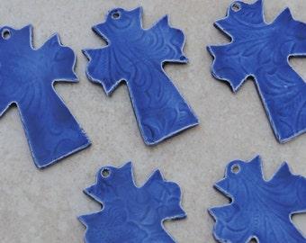 Pottery Cross PENDANT Bead in Mirror Blue