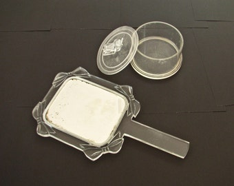 Vintage Lucite Hand Mirror and Round Box, Bow Design