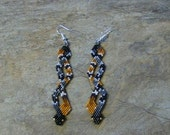 Timber Rattle Snakes Earrings Hand Made Seed Beaded