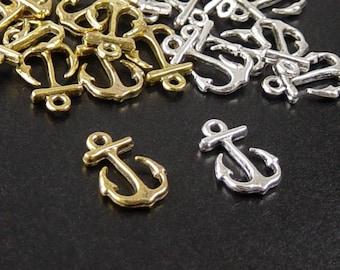Anchor Charm 24 Antique Silver or Antique Gold Pendant Bracelet Clasp 16mm x 11mm (1048pen16s1)