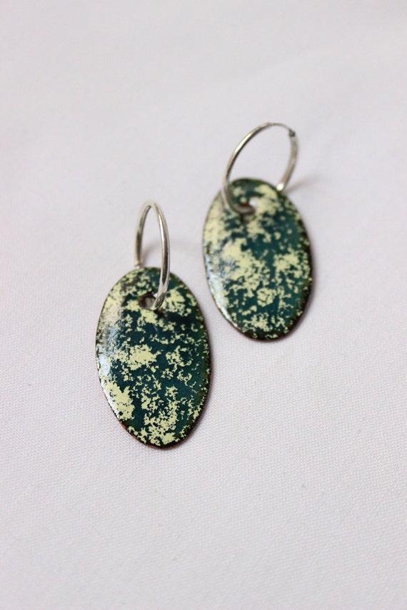 """Oval Enamel earrings, Sterling silver and copper, sterling silver hoop,  green and yellow enamels, """"Grass earrings"""""""