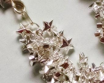 "Bright Silver Star Charm Bracelet Fourth of July Holiday Celebrate 8.25"""