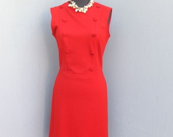Vintage CATALINA  Sleeveless Double Breasted Knit Dress / Red, size 9/10