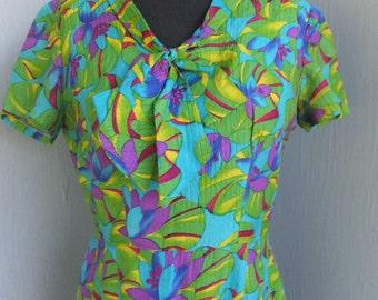 Vintage Green and Purple Floral / Career Dress, Secretary Dress