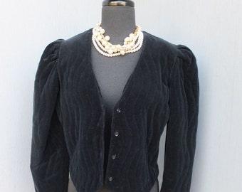Vintage 1980s Joseph Magnin Black Quilted Velour Jacket / Cropped Velour Jacket size 9/10