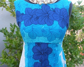 Vintage 1960s/70s  Ui Maikai Hawaiian Dress, Resort Wear, Blue Maxi Dress / Made in Hawaii / Small 32 Bust