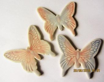 3 mosaic butterfly tiles, handmade, ceramic, large pretty butterflies pale blue and pink