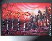 Red Castle Black White Swirly trees With Hearts Original Landscape 24x36 Castle Whimsyville