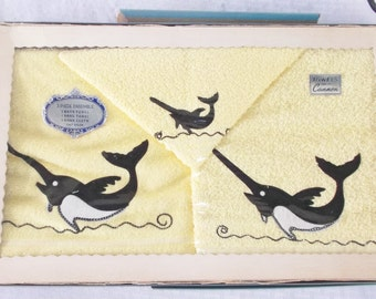 1950s Vintage NOS Unused in Original Box Towel Set with Swordfish by Cannon