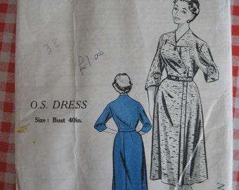 "1950s Dress  - 40"" Bust - Practical Pattern 4121 - Vintage Sewing Pattern"