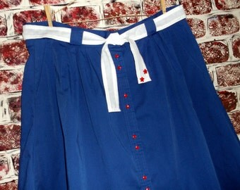 Navy Blue Cotton/Polyester Button Down Skirt, Upcycled, Plus Size 22W/36, Deep Pockets, Tie Belt