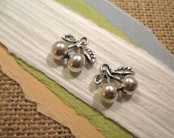 Antique Pewter Cherry Charms - 2 count