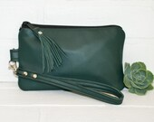 small green leather clutch, wristlet, phone wallet, purse, tassel, make up bag, handmade, upcycled, repurposed, stacylynnc
