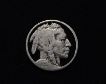 Indian Head Nickel - cut coin pendant / charm - Hobo Art Classic - 1925