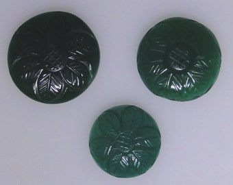 3 round Green Chalcedony carved cabochons, 54.54 carats total                       013-21-003